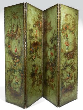 ITALIAN 4-PANEL PAINTED LEATHER SCREEN