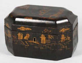 CHINESE EXPORT LACQUERED DOUBLE TEA CADDY