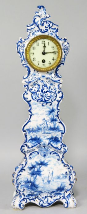 DELFT CERAMIC MINIATURE GRANDFATHER CLOCK