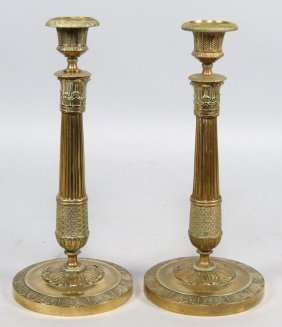 PAIR OF FRENCH EMPIRE BRASS CANDLESTICKS