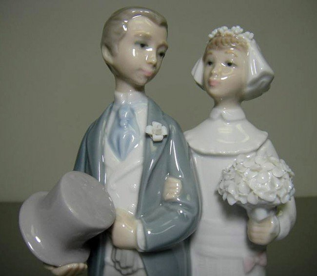 61W LLadro 4808 Wedding Bride Amp Groom Cake Topper Lot 61W