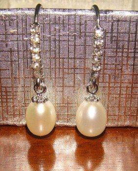 AAA White Pearl Drop Earrings W/ Swarovski Crystals