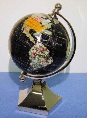 "3"" Black Opalite Gemstone Silver Plated Globe"