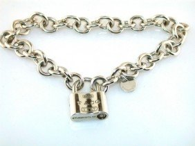 ESTATE TIFFANY & CO 925 STERLING SILVER LOCK BRACEL