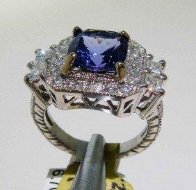 2.74ct Tanzanite & 1.20ct Diamond 14KT White Gold Ring