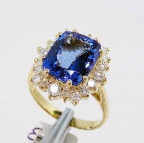4.14ct Tanzanite & 0.65ct Diamond 14KT Yellow Gold Ring