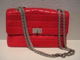 Authentic Chanel Pink Sue Ladies Handbag W/ Dustbag