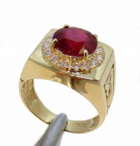4.95ct Ruby & 0.58ct Diamond 14KT Gold Ring
