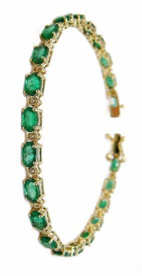 9.53ct Emerald & 0.44ct Diamond 14KT Gold Bracelet