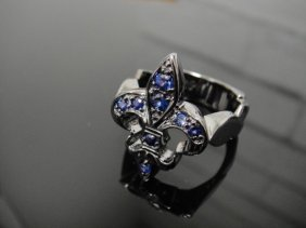Black PVD Covered Sterling Silver & Sapphire Ring
