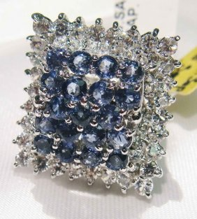 3.25ct Sapphire & 2.30ct CL-Sapp Sterling Silver R
