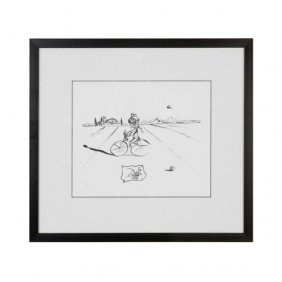 "Dali   ""Bicycle Man""   Comes Unframed."