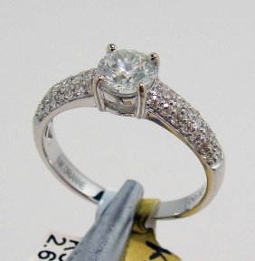 1.03ct (0.70ct SI-3 CNTR) Diamond 14KT White Gold Ring