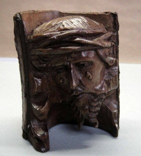 """Head Of Christ"" Hand Carved Wooden Tree Branch"