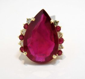 48.37ct Ruby & 0.98ctw Diamond 14KT Gold Ring