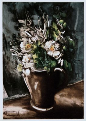 "Vlaminck  ""Flowers In A Stoneware "" Lithograph W/ COA"