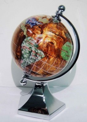 "3"""" Copper Amber Gemstone Silver Plated Globe"