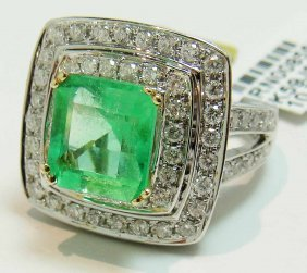 3.60ct Emerald & 1.75ct Diamond 14KT Gold Ring