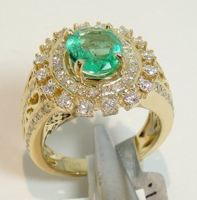 1.17ct Emerald & 1.09ctw Diamond 14KT Gold Ring