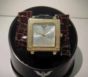 New Diamond King Time Mens Diamond Bezel Watch