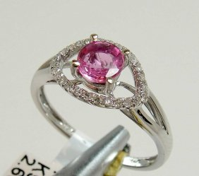 0.65ct Pink Sapphire & 0.10ct Diamond 18KT Gold Ring