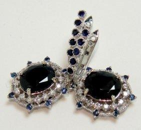7.98ct Sapphire & 0.55ctw Diamond 14KT Gold Earrings