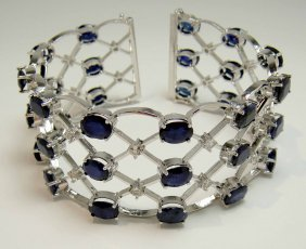58.37ct Blue & 2.75ct CL Sapp Platinum Plated Bracelet