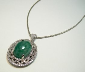 19.06ct Emerald & 3.41ct CL Sapp. Plat Plated Sterling