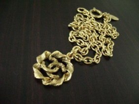 AUTHENTIC USED CHANEL GOLD PLATED CC ROUND CHAIN N