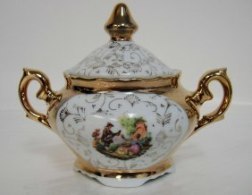 Vintage Porcelain Gold Painted Sugar Bowl W/ Lid -