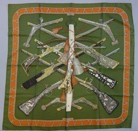Hermes Silk Scarf, Diane Pattern, Rifle Motif