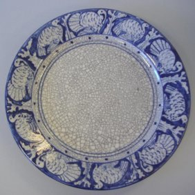 Dedham Pottery Turkey Border Thanksgiving Plate