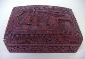 Chinese Cinnabar Lacquer Box, Signed