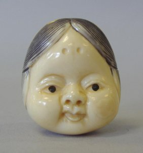 Carved Ivory & Polychrome Netsuke, 2 Faces, Signed