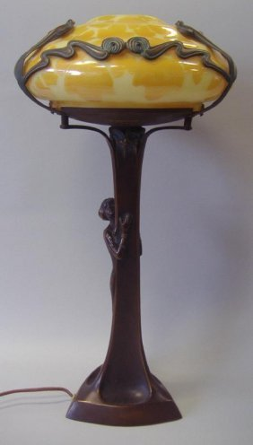 Art Nouveau Style Bronze Female Figural Lamp