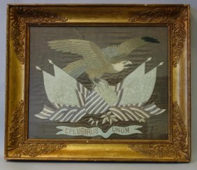 Antique Patriotic Needlework On Silk, Framed