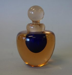 Murano Cased Glass Perfume Bottle, With Label