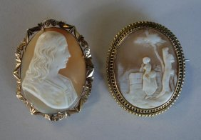 Victorian Carved Shell Cameos, Profile & Landscape