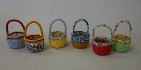 6 Native American Miniature Beaded Baskets