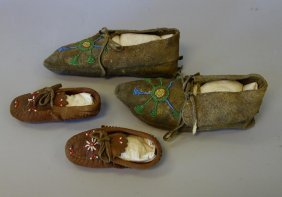 2 Pair Of Native American Beaded Moccasins