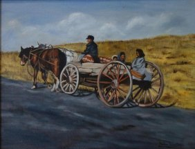 Helen Winter, Oil On Canvas, Horse Drawn Cart