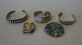 Mexican & Peruvian Sterling & 18k Gold Jewelry