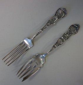 2 California Sterling Silver Souvenir Table Forks