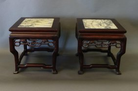 2 Chinese Rosewood & Marble Pedestal Stands