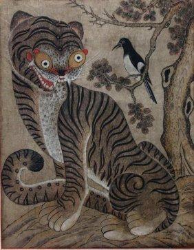 19thc Korean Folk Art Scroll Painting