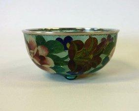 Chinese Silver Mounted Plique Du Jour Bowl
