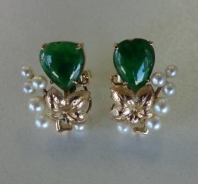 Jadeite Jade, Pearl & 14k Gold Earrings