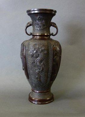 Large 19thc Japanese Bronze Vase, Elephant Handles