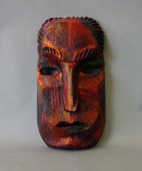 Tu Matauenga Carved & Painted Wood Face Mask