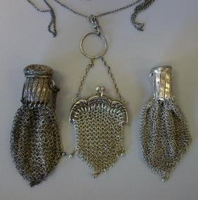 3 Victorian Sterling & Silver Mesh Coin Purses
